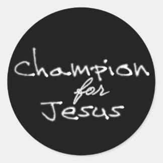 Campeón para los pegatinas de Jesús Etiqueta Redonda