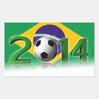 Campeonato 2014 del mundo del fútbol pegatina rectangular
