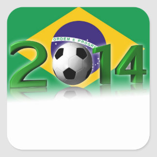 Campeonato 2014 del mundo del fútbol pegatina cuadrada