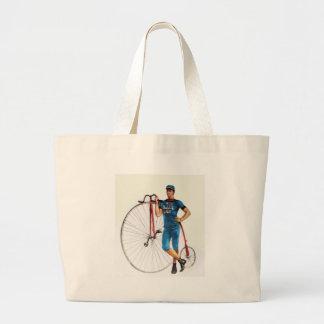 Campeonato de la bicicleta del vintage bolsa tela grande