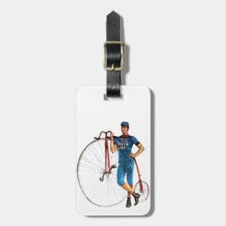 Campeonato de la bicicleta del vintage etiquetas maleta