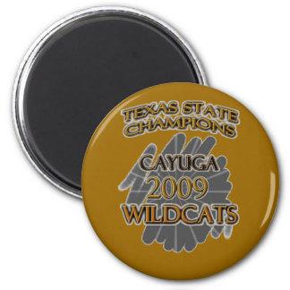 ¡Campeones 2009 de estado de Tejas de los gatos mo Imán Redondo 5 Cm