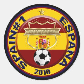 Campeones 2010 del mundo del fútbol de España Pegatina Redonda