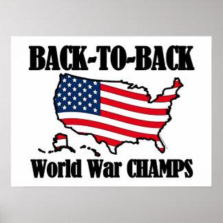 Campeones adosados mutuamente de WW, forma de los  Posters