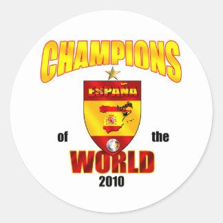 Campeones de España del mundo 2010 Pegatina Redonda