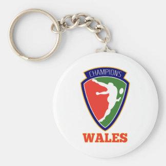 Campeones de País de Gales del jugador del rugbi Llavero