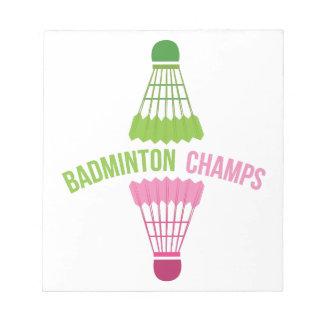 Campeones del bádminton bloc de papel