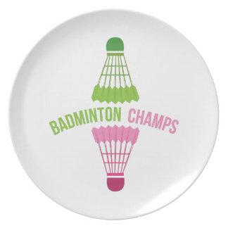 Campeones del bádminton platos