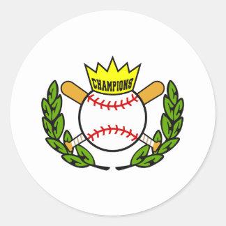 Campeones del béisbol etiqueta redonda