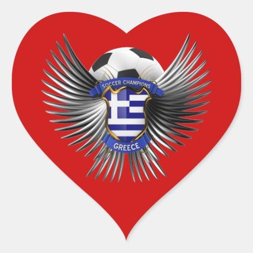 Campeones del fútbol de Grecia Calcomanía De Corazón Personalizadas