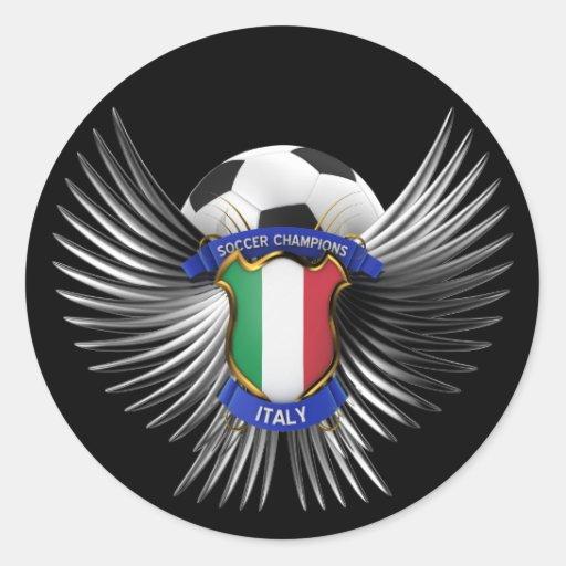 Campeones del fútbol de Italia Pegatina Redonda