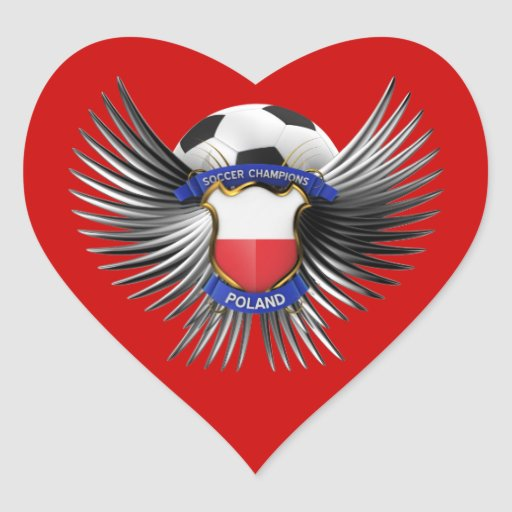 Campeones del fútbol de Polonia Pegatina Corazon