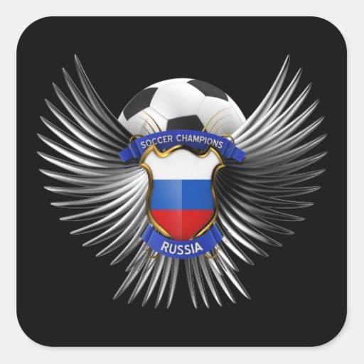 Campeones del fútbol de Rusia Pegatina Cuadrada