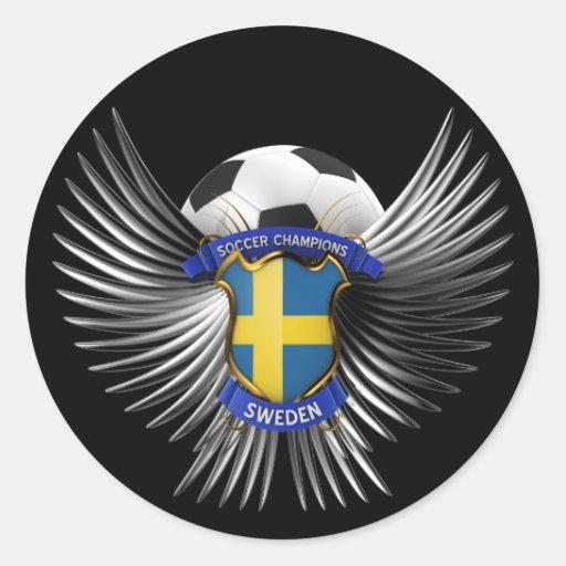 Campeones del fútbol de Suecia Pegatina Redonda