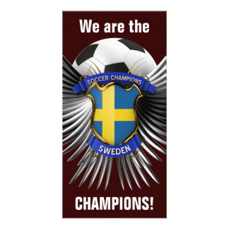 Campeones del fútbol de Suecia Tarjetas Fotograficas Personalizadas