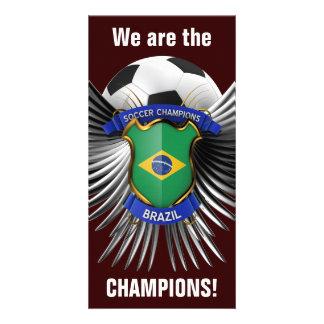 Campeones del fútbol del Brasil Tarjetas Fotográficas Personalizadas
