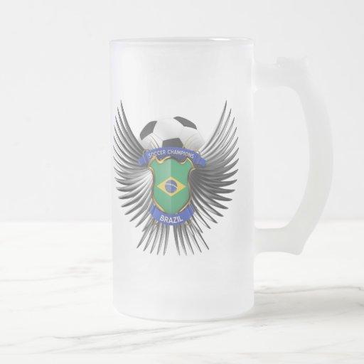 Campeones del fútbol del Brasil Taza De Cristal