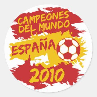 Campeones del Mundo 2010 Pegatina Redonda