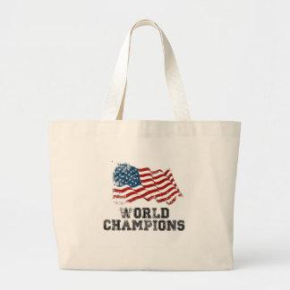 Campeones del mundo de la bandera americana bolsa de mano