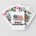 Campeones del mundo de la bandera americana barajas de cartas