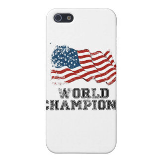 Campeones del mundo de la bandera americana iPhone 5 carcasas