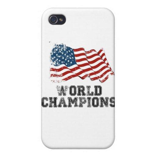 Campeones del mundo de la bandera americana iPhone 4 cobertura