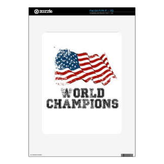 Campeones del mundo de la bandera americana skin para el iPad
