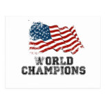 Campeones del mundo de la bandera americana tarjetas postales