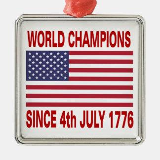Campeones del mundo desde 1776 adorno navideño cuadrado de metal