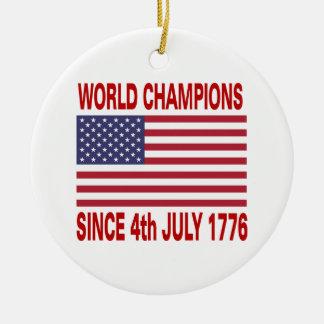 Campeones del mundo desde 1776 adorno navideño redondo de cerámica