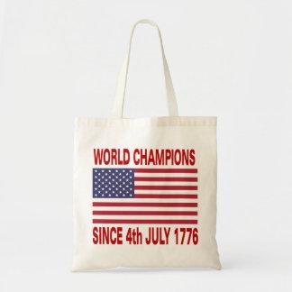 Campeones del mundo desde 1776 bolsa tela barata