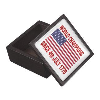 Campeones del mundo desde 1776 cajas de recuerdo de calidad