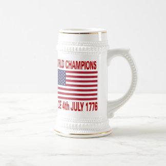 Campeones del mundo desde 1776 jarra de cerveza