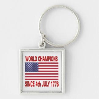 Campeones del mundo desde 1776 llavero cuadrado plateado