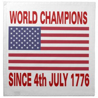Campeones del mundo desde 1776 servilletas