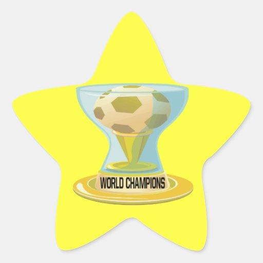 Campeones del mundo pegatinas forma de estrella personalizadas