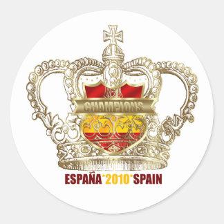 Campeones españoles 2010 de los reyes mundo del pegatina redonda