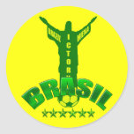 Campeones Hexa del mundo de la victoria del Brasil Pegatina Redonda