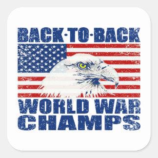 Campeones llevados vintage Eagle de la guerra Pegatina Cuadrada