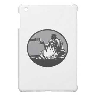 Camper Campfire Cup of Coffee Circle Woodcut Cover For The iPad Mini