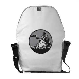 Camper Campfire Cup of Coffee Circle Woodcut Messenger Bag