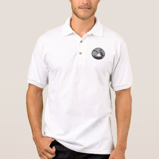 Camper Campfire Cup of Coffee Circle Woodcut Polo Shirt
