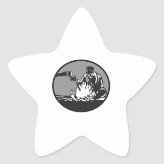 Camper Campfire Cup of Coffee Circle Woodcut Star Sticker