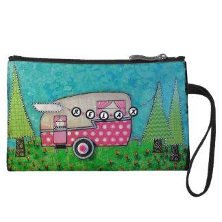 Camper Cosmetic Bag, Pink Camper,Camper Gift Wristlet Wallet
