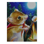 Camper Mouse Roasting Marshmallows Watercolor Art Postcard