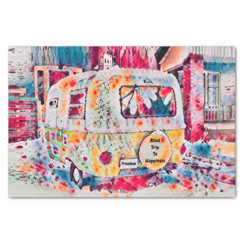 Camper Retro Hippie Road Trip To Happiness Freedom Tissue Paper