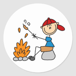 Camper Roasting Hot Dogs Tshirts and Gifts Classic Round Sticker