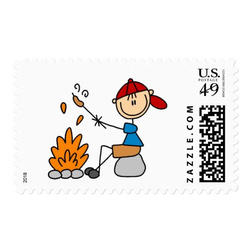 Camper Roasting Hot Dogs Tshirts and Gifts Stamp