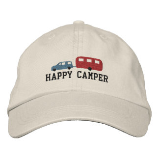 Camper Trailer and Car Happy Camper Embroidered Baseball Cap