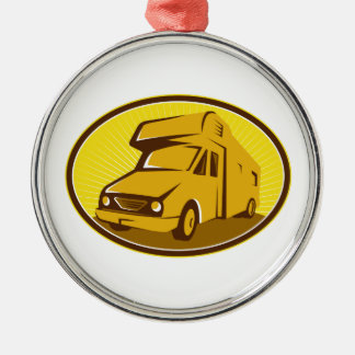 Camper Van Mobile Home Retro Metal Ornament